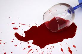 spilled red wine